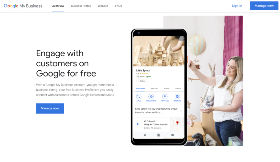 The Google My Business Homepage